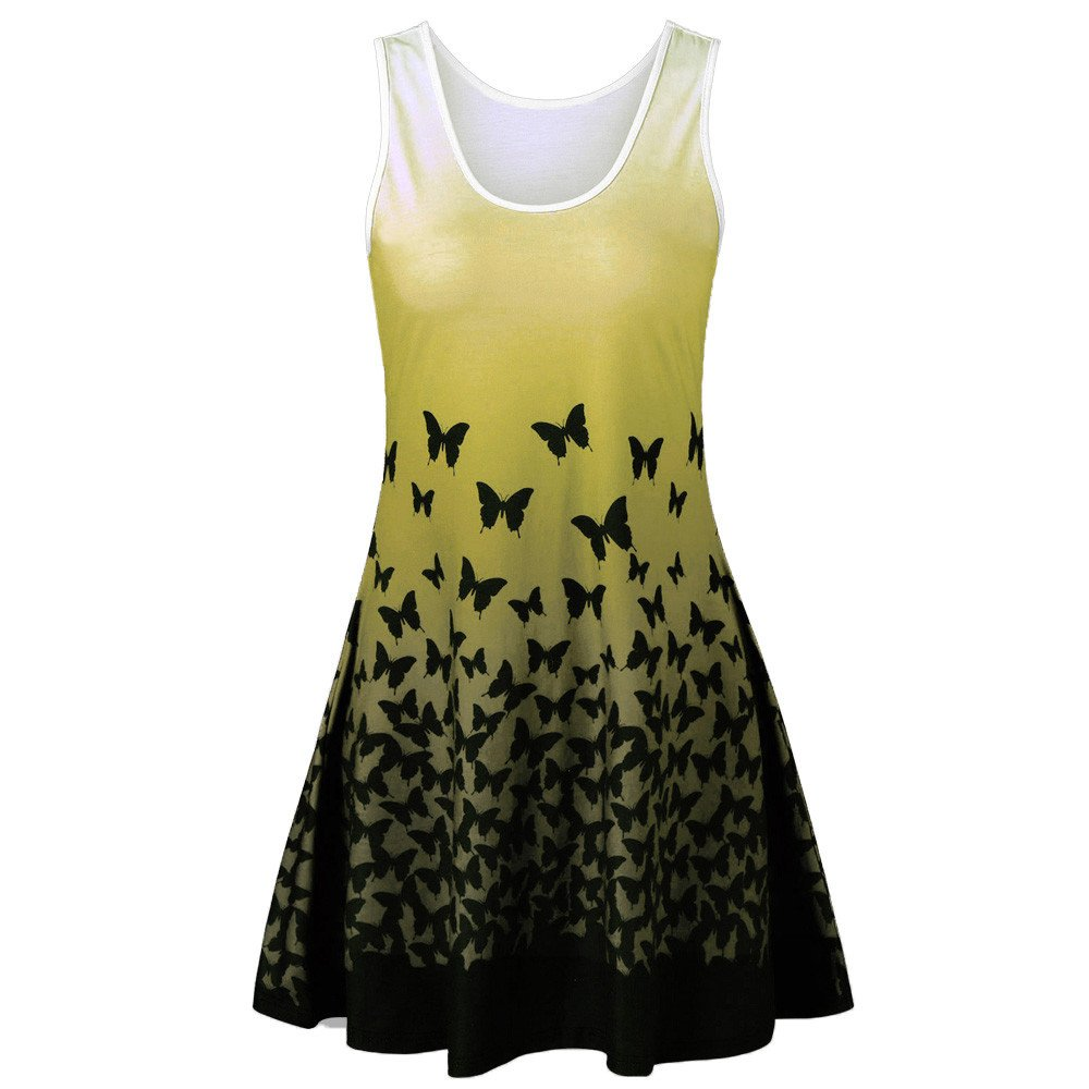 Women Summer Dress Plus Size,Ladies Butterfly Print Sleeveless Party Dress Vintage Casual Dress for Teen Girls Yamally Yellow