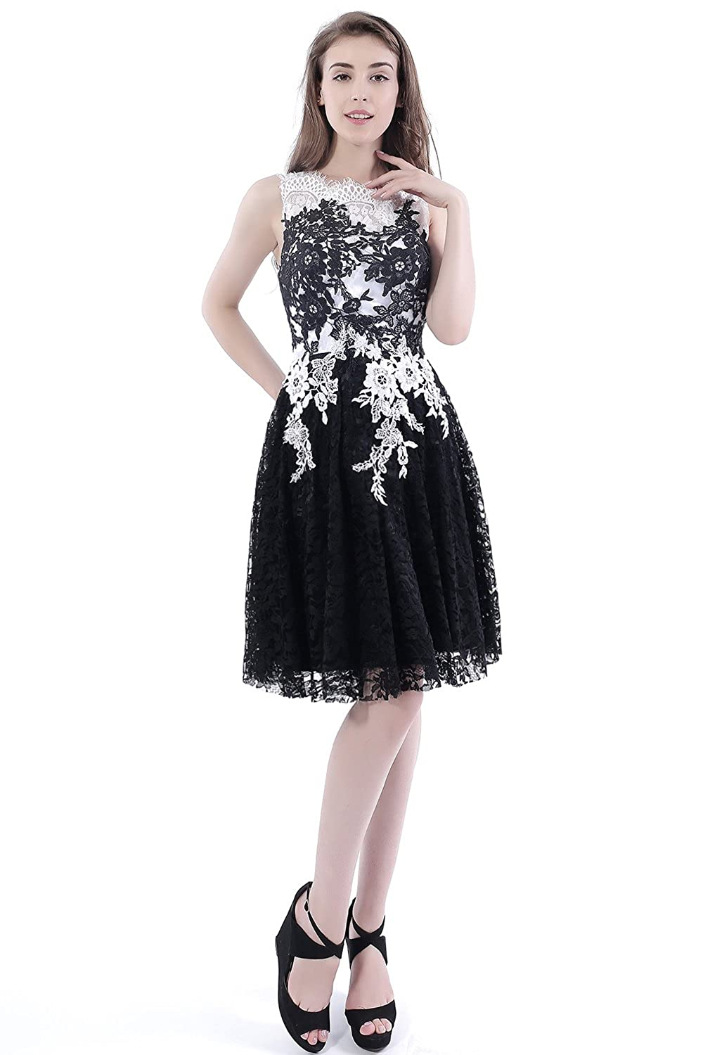 Babyonlinedress Sexy Lace Applique Short Cocktail Homecoming Dress for Junior