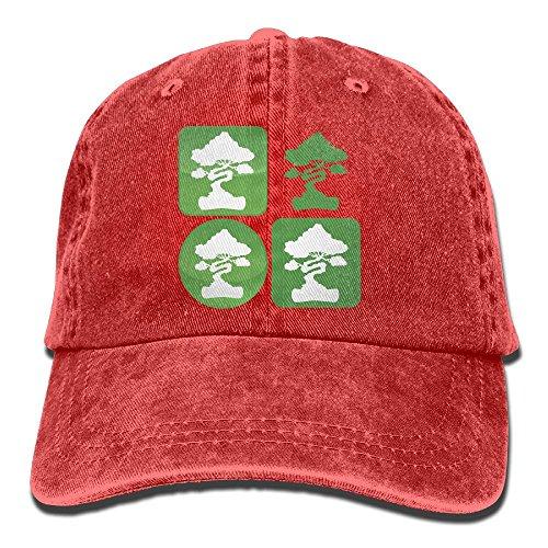 Denim Cap Headgear (Bonsai Tree Icon Washed Retro Adjustable Denim Cap Baseball Caps For Man And Woman)