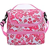 MIER Double Decker Insulated Lunch Box Pink Soft Cooler...