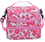 : MIER Double Decker Insulated Lunch Box Pink Soft Cooler Bag Thermal Lunch Tote with Shoulder Strap (Pink Flower)