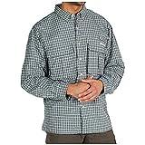 ExOfficio Men's Air Strip Micro Plaid Long Sleeve Shirt, Basil Plaid, Large, Outdoor Stuffs