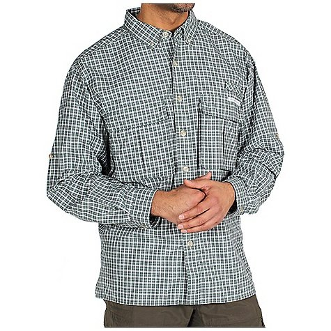 ExOfficio Men's Air Strip Micro Plaid Long Sleeve Shirt, Basil Plaid, Large, Outdoor Stuffs