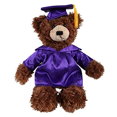 Plushland Chocolate Brandon Custom Plush Stuffed Animal Teddy Bear Toys for Graduation Day, Personalized Text, Name or School Logo on Gown, Best for Any Grad Kids 12 Inch (Chocolate-Purple): Toys & Games