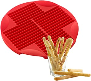 ZENRA 2-PCS Red Silicone Long Strip Cookie Baking Tray, Food Grade Silicone Finger Shape Mold for DIY Biscuit, Chocolate, Lollipop, Cake, Jelly, Pudding, Handmade Soap
