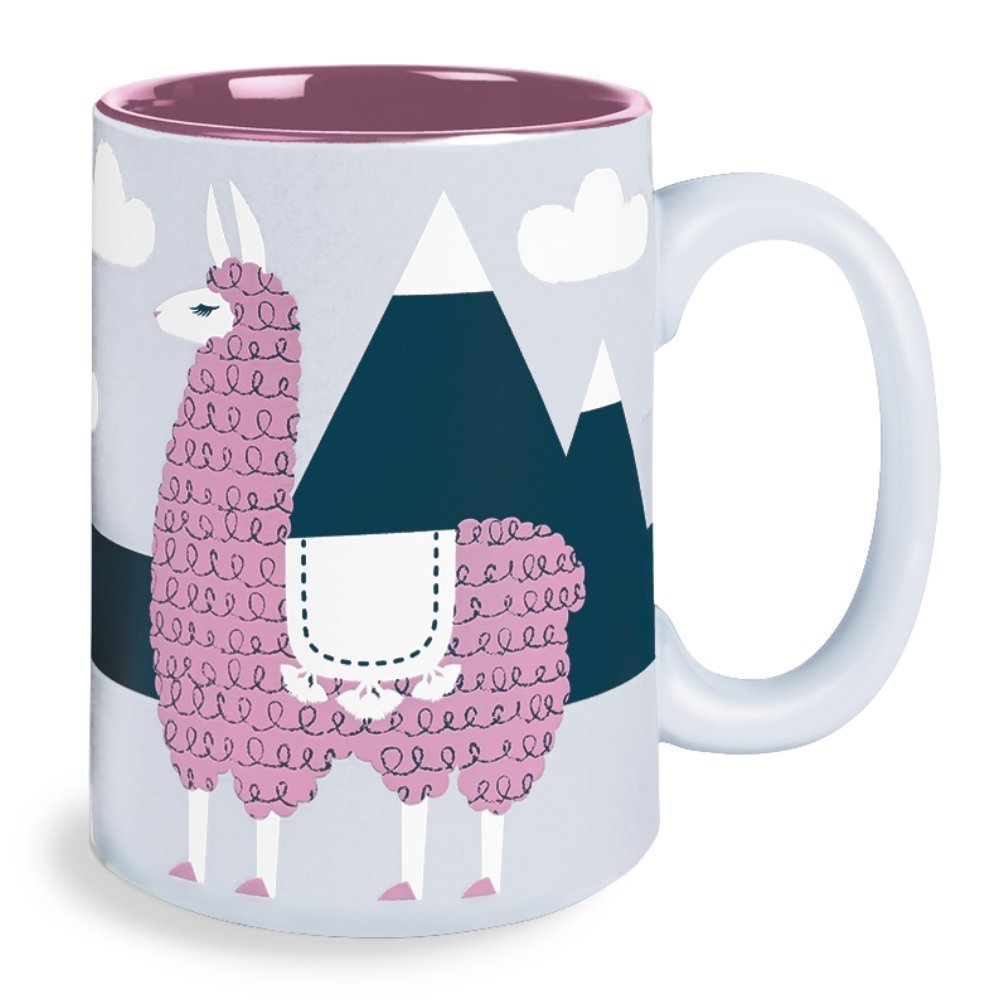 Kitsch'n Glam 16 Oz Mug, Llama, Coral Kitsch'n Glam 16 Oz Mug Wild Eye Designs