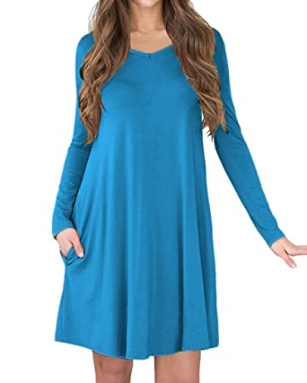 f4a9a6a22539 Unbranded  Womens V-Neck Long Sleeve A-line Casual Tshirt Dress with Pocket