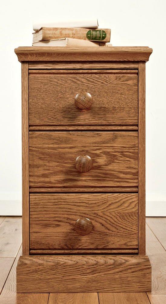 Kendal Nachtschrank aus Eichenholz, 3 Schubladen, schmal, 1 Paar