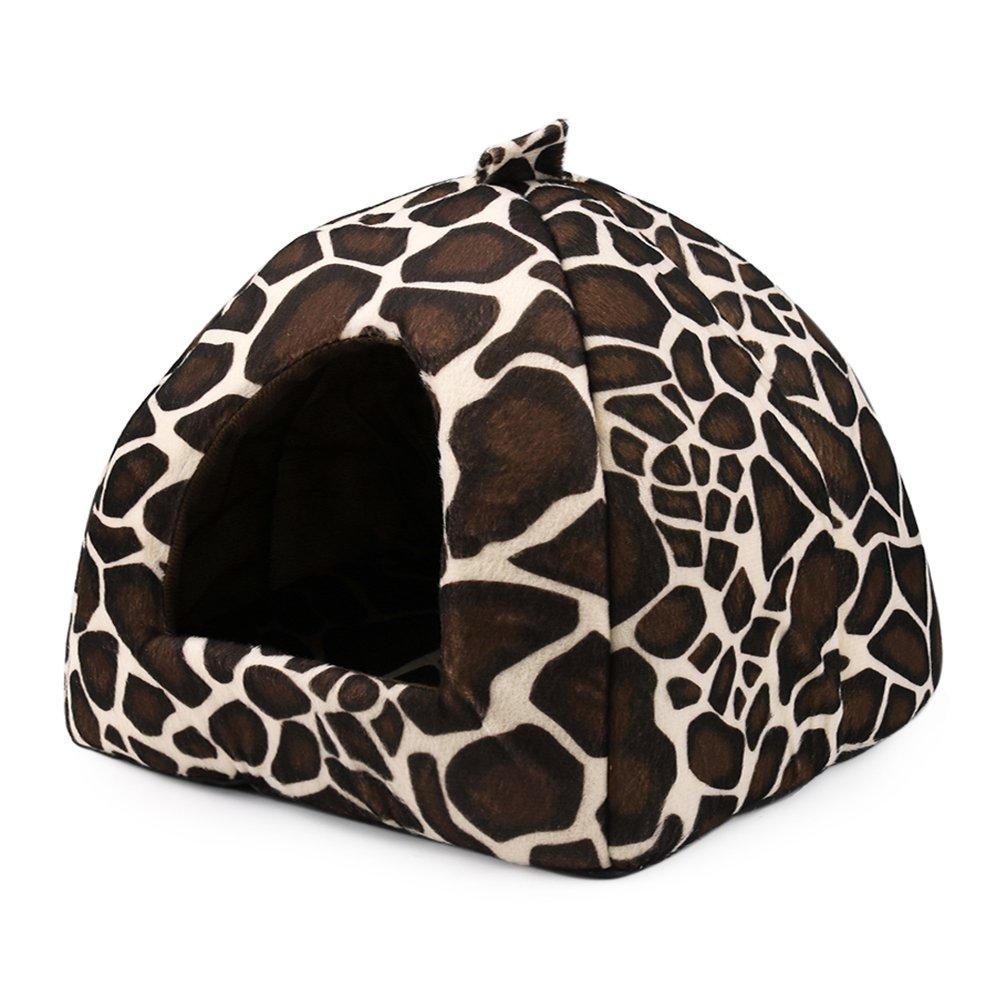 L Strawberry Style Pet House,Deer Pattern Pet Dog Cat Sponge Dome Tent Ded Cushion Nest(S-XL) (L)