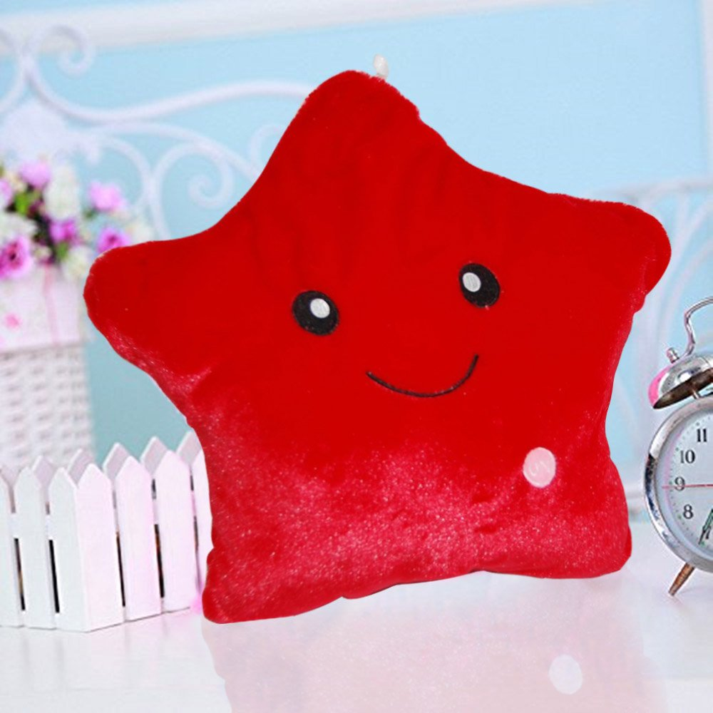 Missley Creative Star Pillow Glowing LED Night Light Star Shape Plush Pillow Stuffed Toys (Blue)