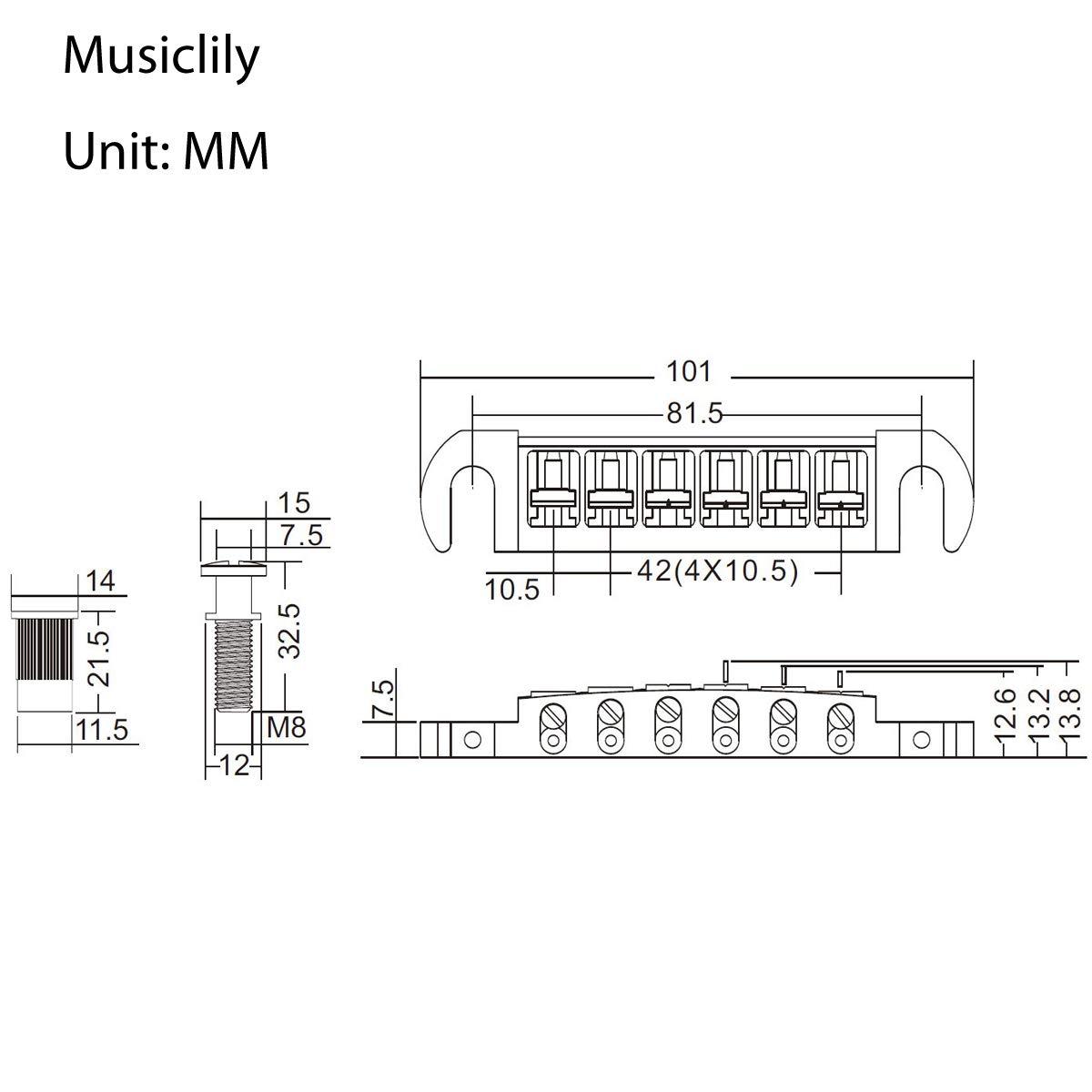 Musiclily Pro 52,5mm Pigtail Style Wraparound Regolabile Ponte Tune-o-Matic per Chitarra Elettrica Stile Les Paul,Cromo