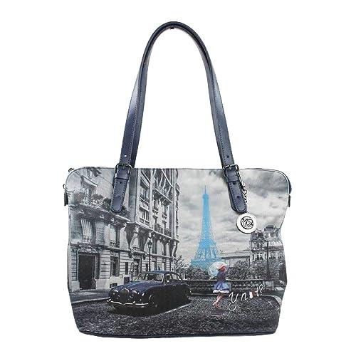 YNOT BORSA DONNA SHOPPING BAG M TRASFORMABILE BLUE RAIN K 377