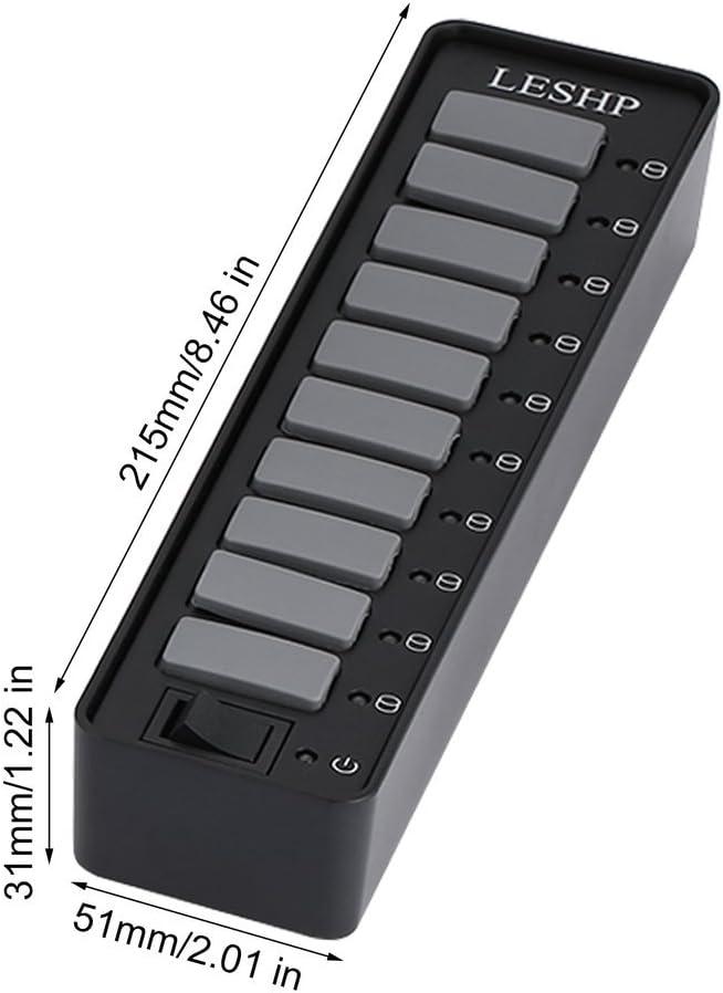 LESHP Date HUB USB 3.0 10 Ports 5Gb//s avec Cache du Port Individuel Adapteur d/'Alimentation Supporte Windows Mac OS Linux etc