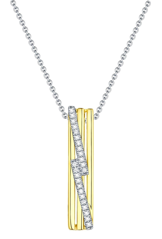 14k Yellow//White Gold Prism Jewel G-H//I1 Natural Diamond Delicate Fancy Pendant