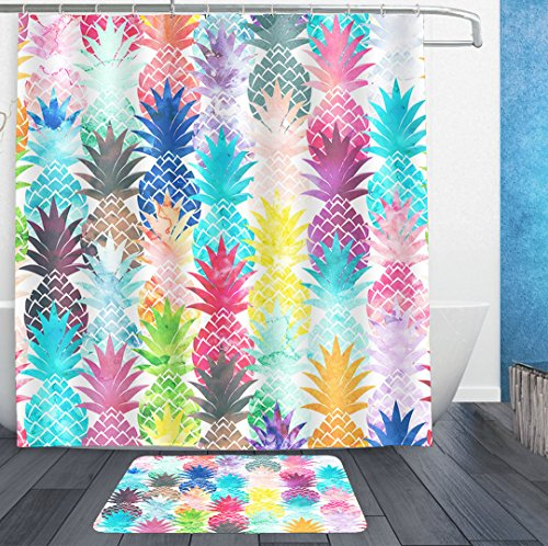 (AMERICAN TANG Shower Curtains With Hooks and bath rug mat - New Hawaiian Tropical Pineapple watercolor print Bath Curtain Liner - Waterproof Polyester Fabric Bathroom Decor Set - 72x72/18x36 )