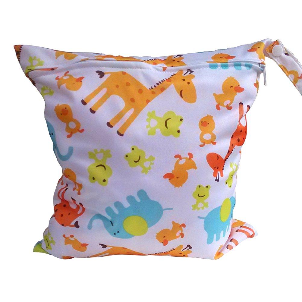Tinksky Giraffa carino modello animale bambino con cerniera impermeabile riutilizzabile lavabile panno pannolino Nappy Bag bagnato asciutto borsa Tote con impugnatura morbida di schiocco (bianco) Pixnor