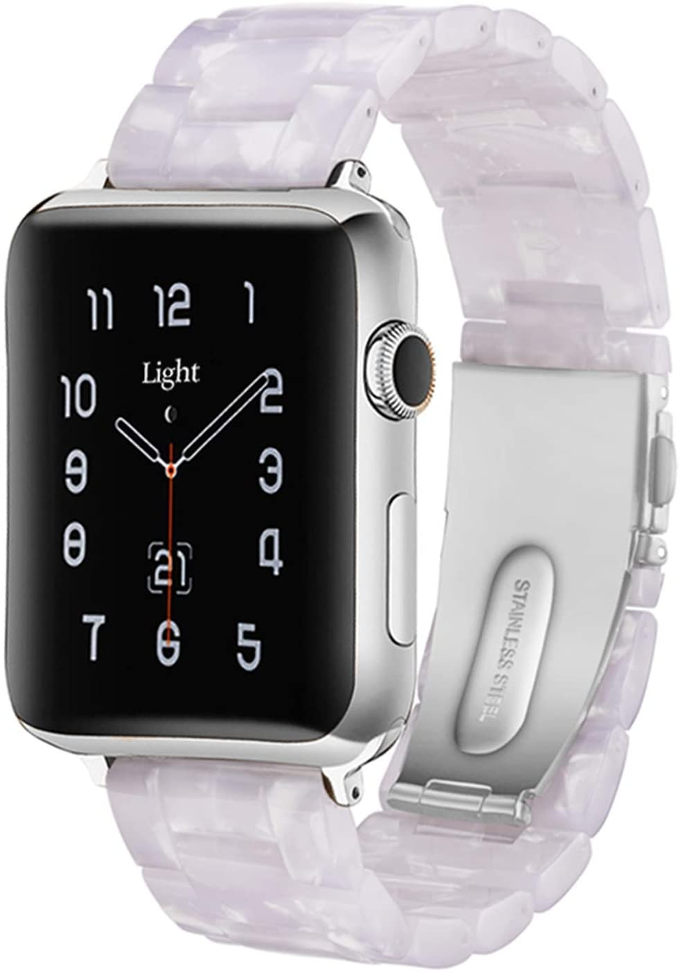 Light Apple Watch Band - Fashion Resin iWatch Band Bracelet Compatible with Stainless Steel Buckle for Apple Watch Series 6 Series SE Series 5 Series 4 Series 3 Series 2 1 (Shining White, 42mm/44mm)