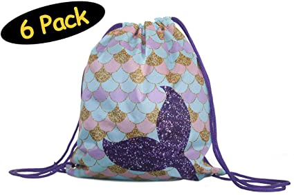 3d47ae04268 Mermaid Favor Bags 6-pack Mermaid Party Favors Drawstring Backpack Goodie  Bags    Gift