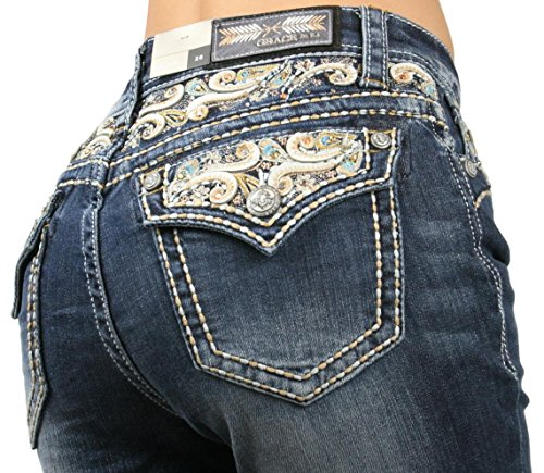 Grace in LA EASY FIT White Leather Paisley Medium Wash Boot Cut Denim Jeans 50%OFF