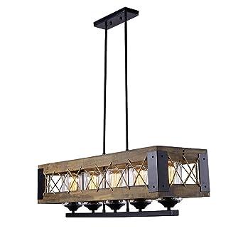 LALUZ Wood Kitchen Island Lighting, Iron 5 Light Pendant Lighting For  Dining Room,