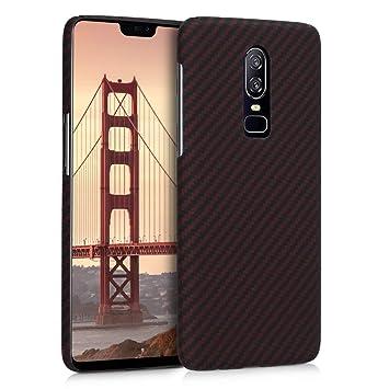 kalibri Funda para OnePlus 6 - Carcasa Protectora de [aramida] para móvil - Cover [Trasero] [Rojo Mate/Negro]