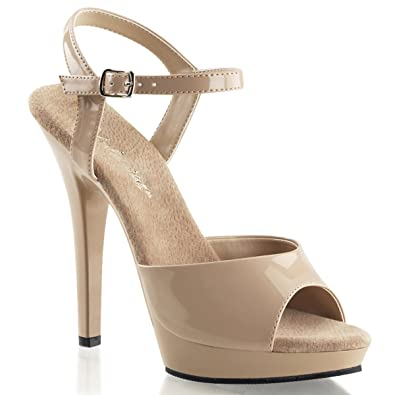 Amazon.com | Womens Glossy 5 Inch Nude Heels Strappy Sandals Shoes ...