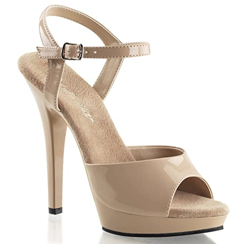 7477e289f3e2 Summitfashions Womens Glossy 5 Inch Nude Heels Strappy Sandals Shoes with Ankle  Strap Size  5