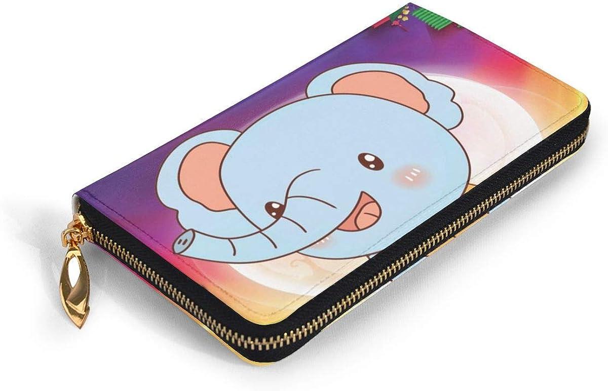 Cute Little Elephant Genuine Leather Girl Zipper Wallets Clutch Coin Phone For Women
