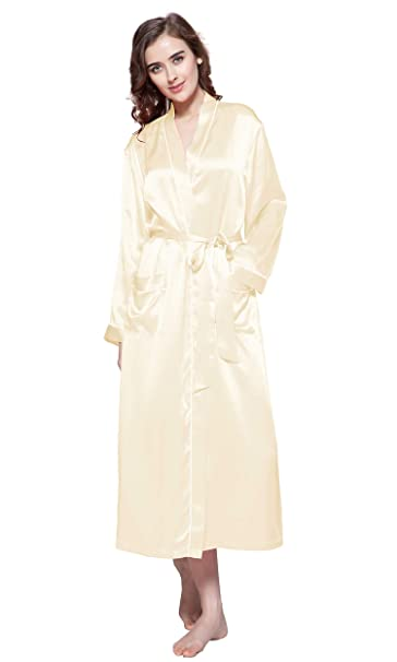 6919ee5ae0 LilySilk Womens Silk Robe with Pockets Mulberry 22 Momme Contra Trim Full  Length XS