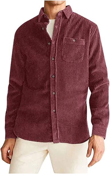 COTZFOZ Escudo Hombres Otoño Tops Pana Camisa de la Blusa Camisas de Vestir de los Hombres de Hawai Red XXL: Amazon.es: Ropa y accesorios