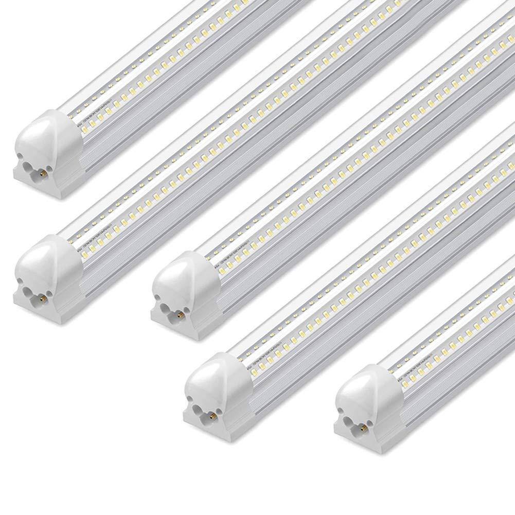 8Ft LED Shop Light, 72W, 7500LM, 6500K, T8 V-Shape Integrated Tube Light Fixture, Hight Output, Brighter White, LED Tube Light for Garage, Warehouse, Plug and Play (Pack of 5)