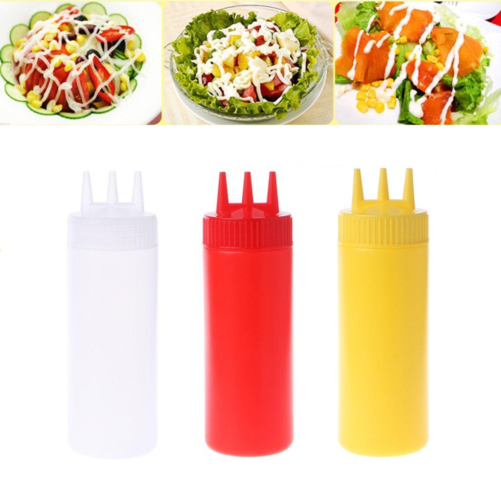 Milue 3 Hole Squeeze Bottle Condiment Dispenser Sauce Vinegar Oil Ketchup Cruet Bin (White) by Milue (Image #2)