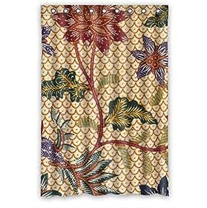 Best Seller Curtain,Batik Floral Fabric Custom 100% Polyester Waterproof Shower Curtain 48 x 72