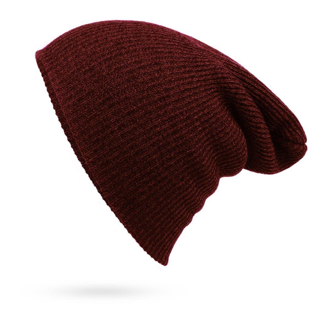 Adultos rayas diseño cráneo con tapa de color sólido casquillo caliente lana beanie Bobury