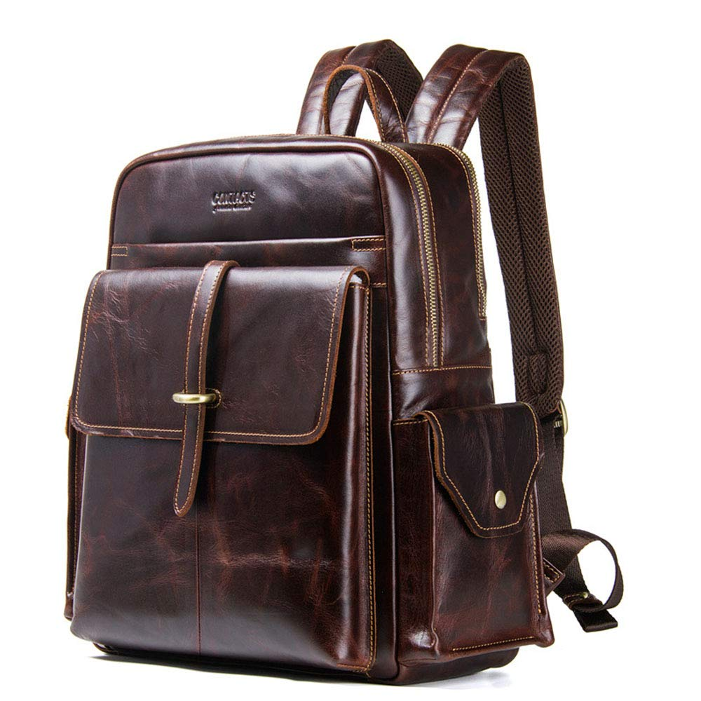 Canyixiu Casual Leather Backpack Mens Backpack Casual Backpack Travel Leather Backpack Outdoor Hiking Travel Backpack
