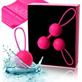 Silicone Ben Wa Kegel Exercise Balls – Pelvic Floor Exercisers Strengthen PC Muscle for Sexual Health, Prolapse Support, Post Pregnancy Childbirth Recovery – Set of 2 Kegel Weights for Women by InJoy