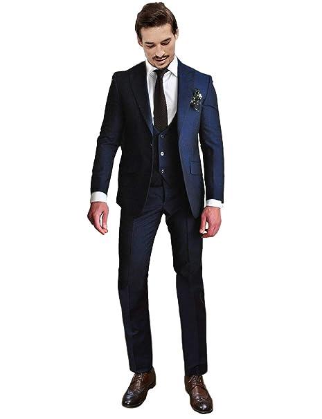 Amazon.com: newdeve 1 botón azul marino 3 piezas hombres ...