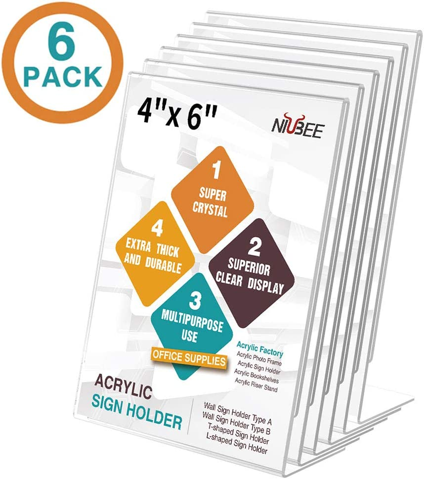 NIUBEE 6Pack Slant Back Acrylic Sign Holder 4x6 inches, Clear Vertical Picture Frames Lucite Frames, Desktop Flyer Holder Document Holder Paper Display Stand