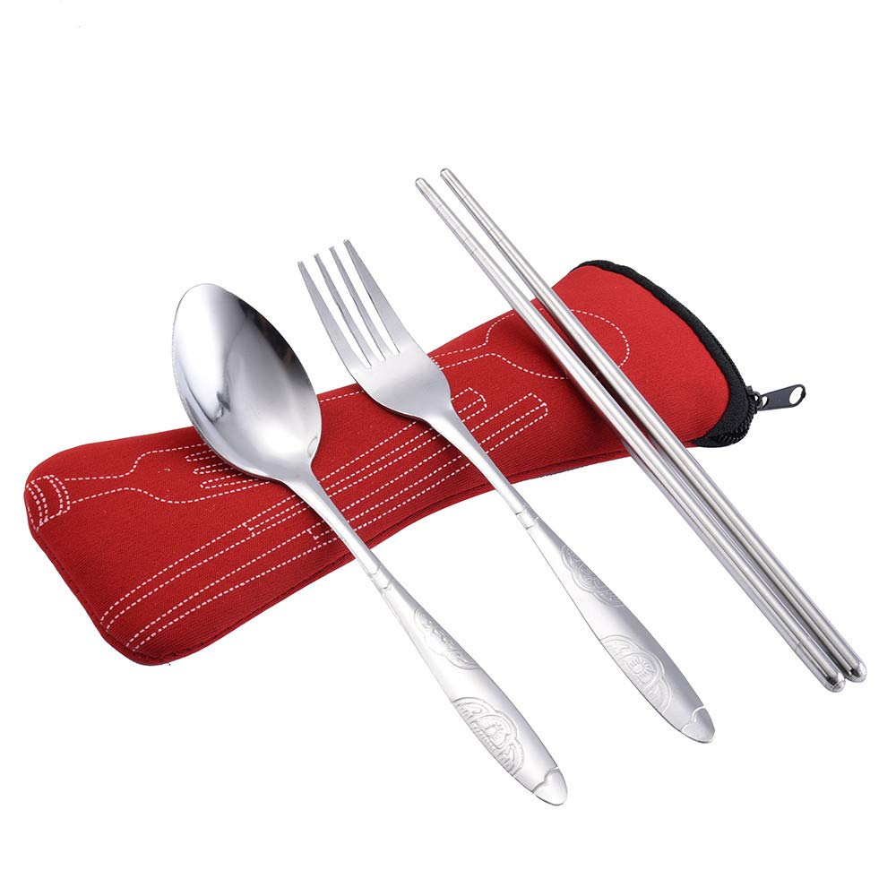 3PCs Vacally Portable Stainless Steel Fork Spoon Chopsticks Set with Carrying Case Travel Camping Outdoor Cutlery, Spoon: 16.5cm, Fork: 16.8cm, Chopstick: 18cm (Red)