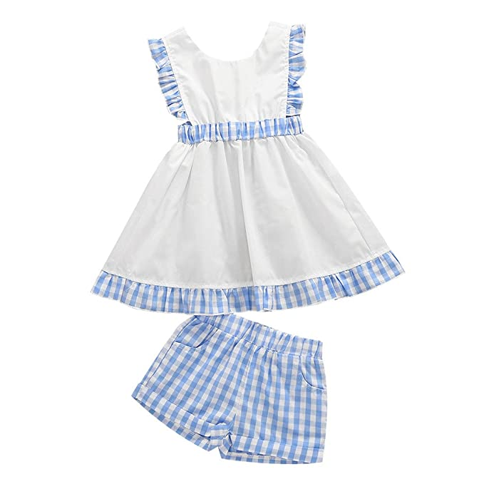 2f680b1edac Image Unavailable. Image not available for. Color  MIOIM Toddler Girls  Sundress Kids Princess Ruffled Backless Summer Plaid Dress ...