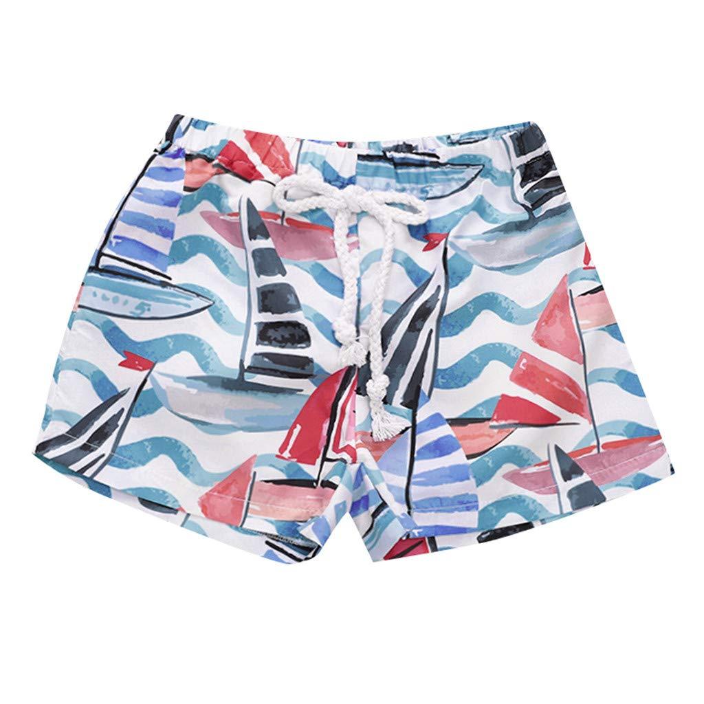 NUWFOR Kids Baby Girl Hawaiian Print Broek Elastic Waistband Beach Shorts Summer (White,12-18 Months)