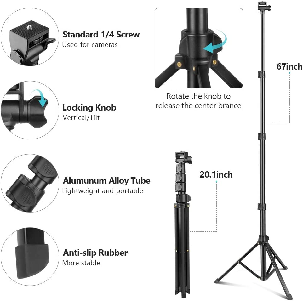 """Selfie Stick & Phone Tripod, Sensyne 67"""" Extendable Travel Tripod Stand with Universal Phone/Pad Clip, Remote Shooting Compatible with iOS & Android Devices, Tripod for Video Shooting, Vlog: Camera & Photo"""