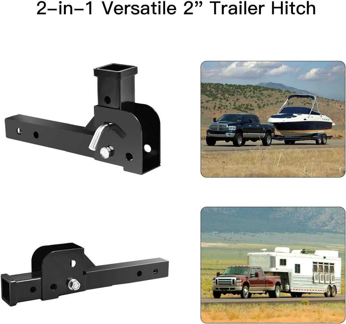 Fullwatt Folding 2 Trailer Hitch Towing Hitch Mounts Mount Cargo Wheelchair Carrier Adapter 500LB