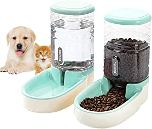 Lucky-M Pets Automatic Feeder and Waterer Set,Dogs Cats Food Feeder and Water Dispenser 3.8L,2 in 1 Cat Food Water Dispensers for Small Medium Big Pets (Green)