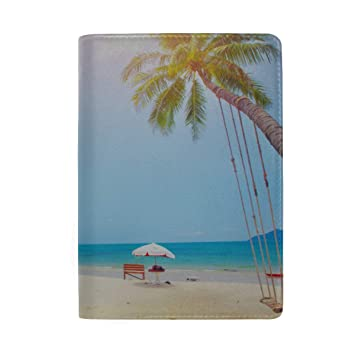 Ocean Beach With Coconut Palm Tree On Blue Sky Blocking Print Passport Holder Cover Case Travel Luggage Passport Wallet Card Holder Made With Leather For Men Women Kids Family