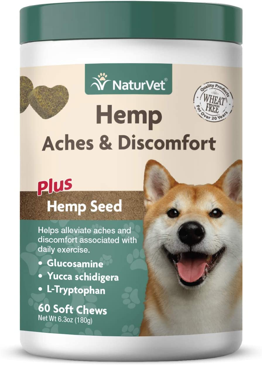 NaturVet – Hemp Aches & Discomfort For Dogs - Plus Hemp Seed – 60 Soft Chews – Helps Alleviate Aches & Discomforts – Enhanced With Glucosamine, Yucca Schidigera & L-Tryptophan