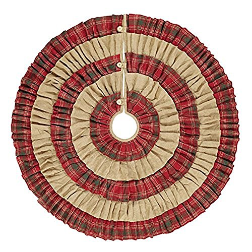 VHC Brands Christmas Holiday Decor-Whitton Red Tree Skirt, King