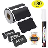 ONUPGO Chalkboard Labels-180pcs Waterproof Reusable Blackboard Stickers with 1 Liquid Chalk Marker for Mason Jars, Parties Decoration, Craft Rooms, Weddings, Storage, Organize Your Home & Kitchen
