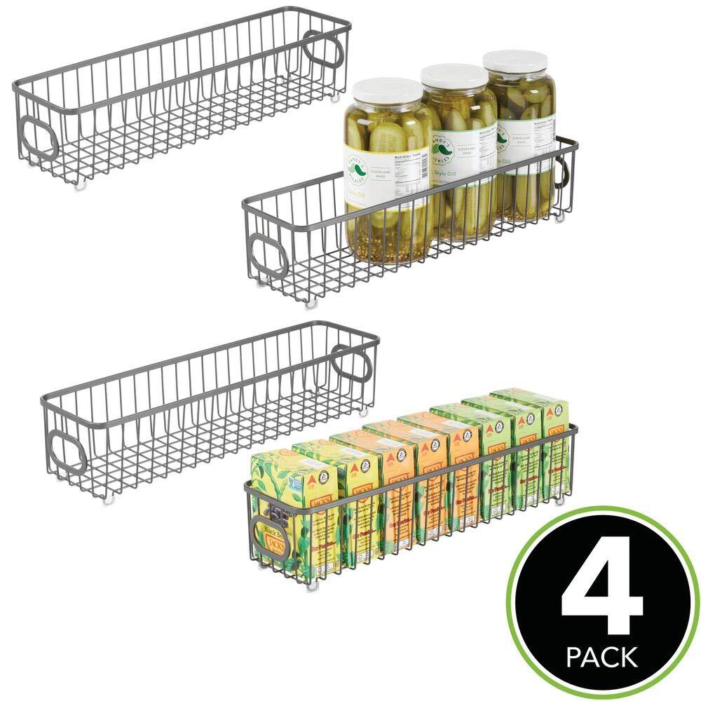 Vers/átil cesto de alambre para cocina o despensa mDesign Juego de 4 cestas de metal color bronce Organizadores de cocina compactos y universales con asas