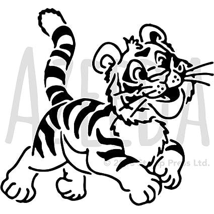Azeeda A4 Tiger Cub Wall Stencil Template